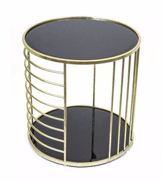 Picture of METAL AND BLACK GLASS ACCENT TABLE