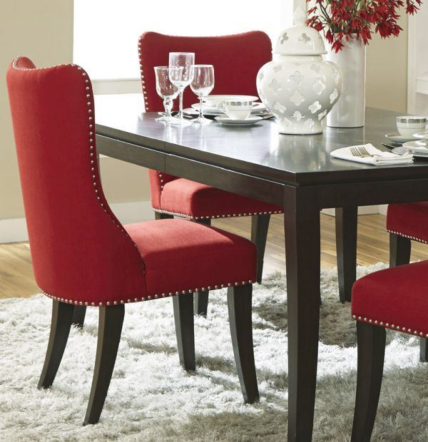 Platinum Upholstered Side Chair Red