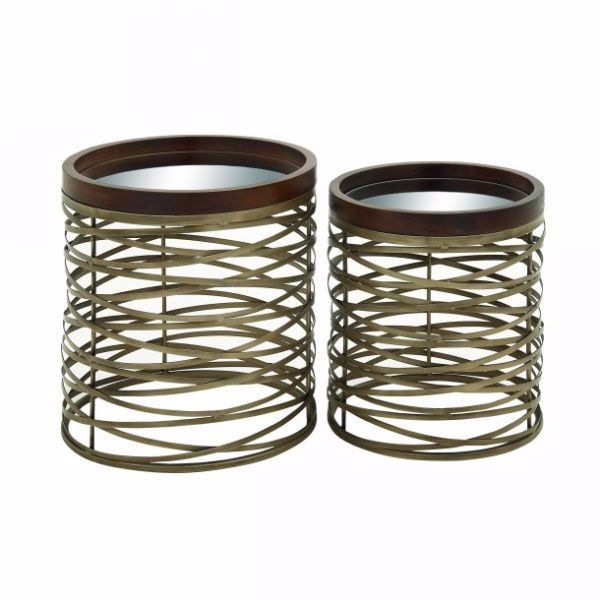 Picture of METAL MIRROR TRAY TABLE SET