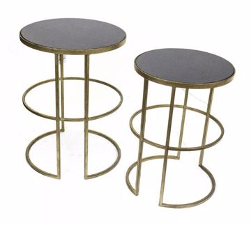 Picture of SET OF 2 GOLD METAL ACCENT TABLES