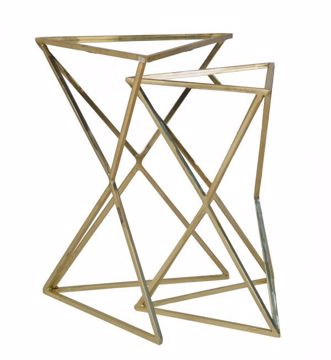 Picture of SET OF 2 GOLD NESTING TABLES