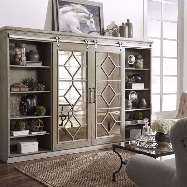 Mirrored Reflections Entertainment Wall Unit