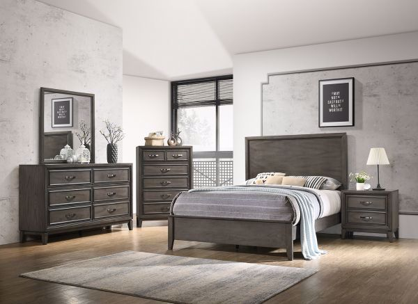 Picture of WINCHESTER GREY KING PANEL BED