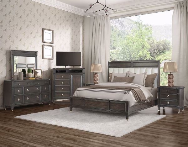 Picture of VALLEY VIEW KING UPHOLSTERED PANEL BED