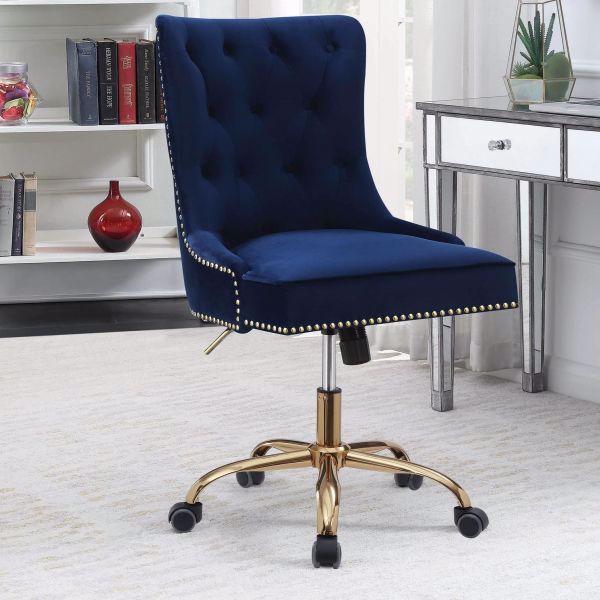 Picture of MODERN BLUE VELVET OFFICE CHAIR