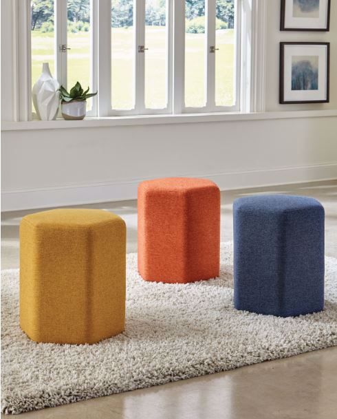 Picture of HEXAGONAL ACCENT STOOL BLUE