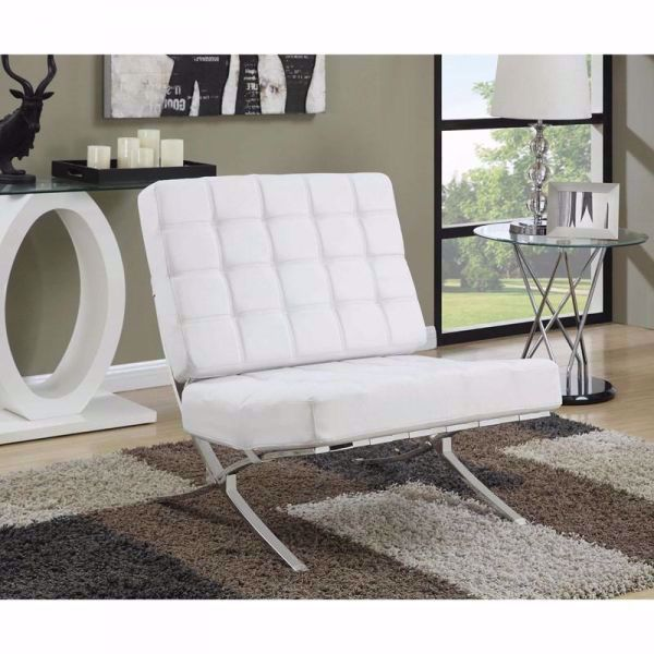 Picture of CONTEMPORARY WHITE ACCENT CHAIR