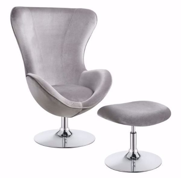 Picture of CURVED ARM ACCENT CHAIR WITH OTTOMAN