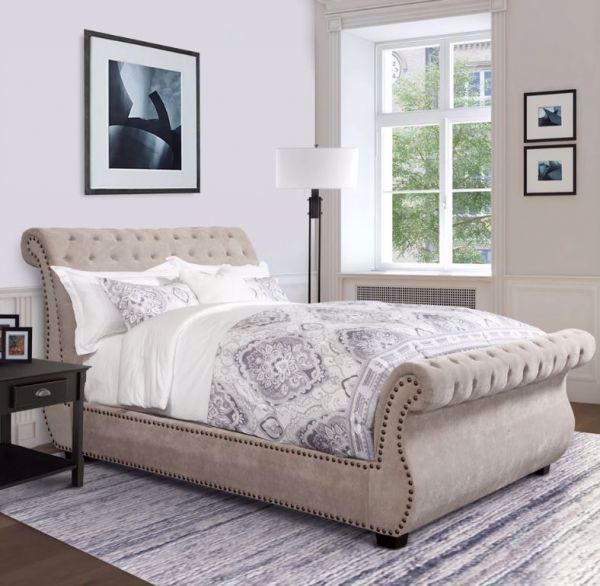 Picture of CLAIRE KING TUFTED SLEIGH BED