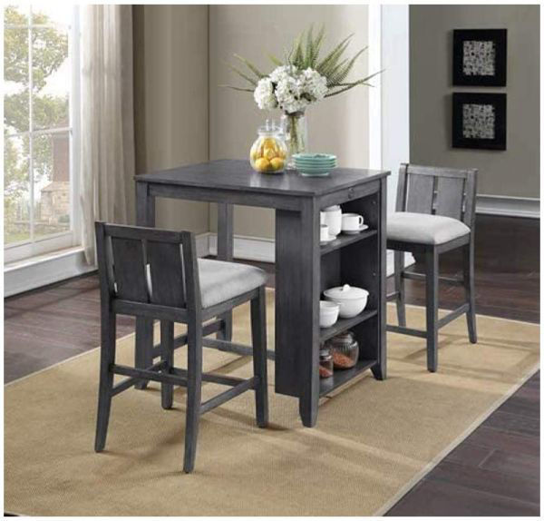 Picture of HESTON COUNTER TABLE W/STOOLS GRAY