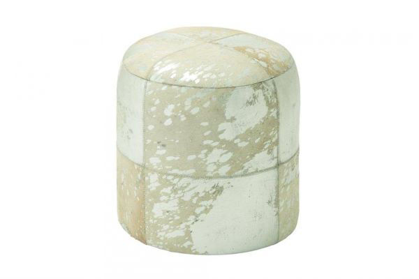 Picture of ROUND LEATHER HIDE OTTOMAN